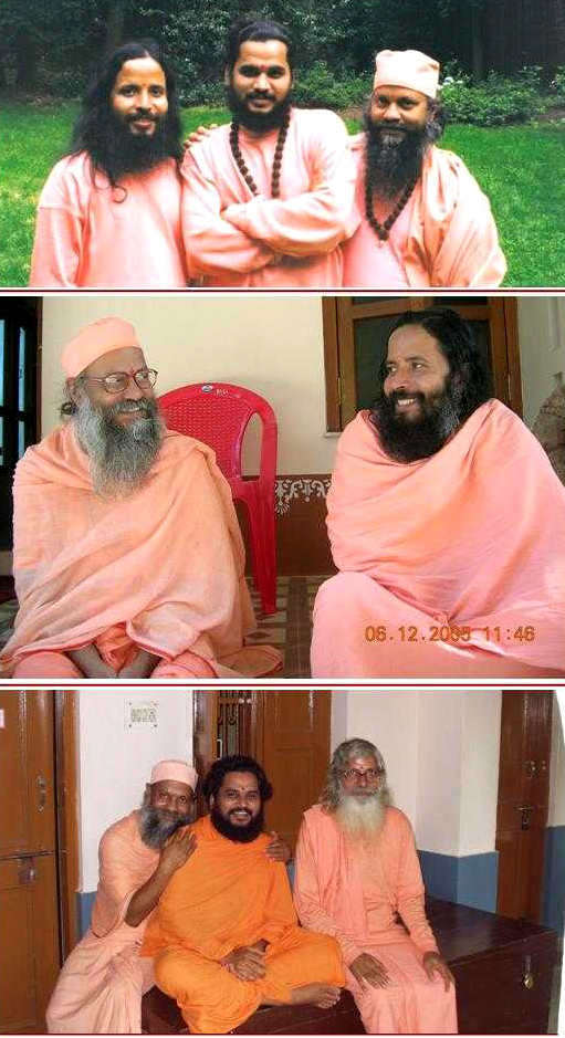 montage photo avec swami Brahmananda etouré de Prajnanananda, Shuddhananda et Samarpanananda