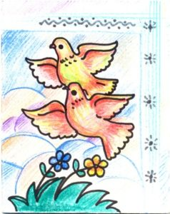 timbre postal d'enfant avec deux colombes